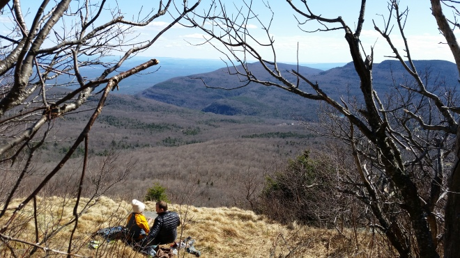 View of Overlook Mountain and the Hudson Valley from Hurricane Ledge on the southern slope of Kaaterskill High Peak