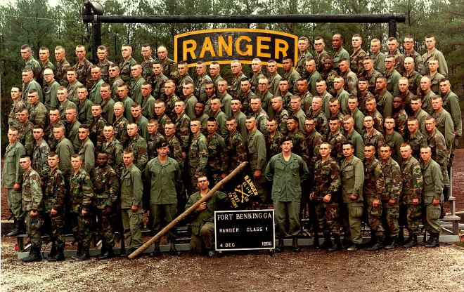 U.S. Army Ranger School Graduation 1987.  The author is located directly below the