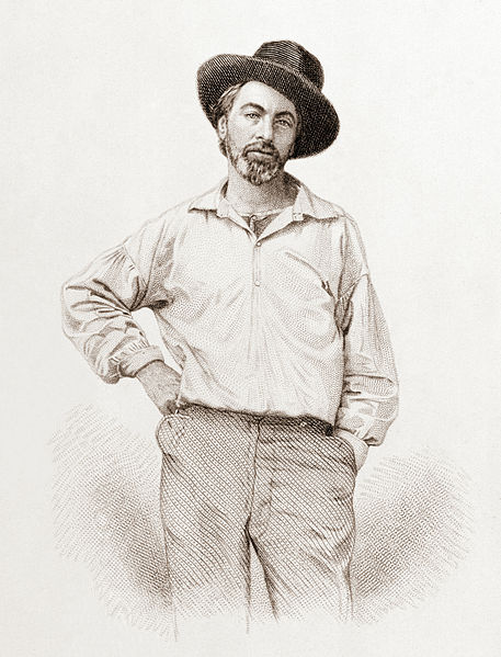 Walt Whitman (1819-1892), age 37, frontispiece to Leaves of grass, Fulton St., Brooklyn, N.Y., 1855, steel engraving by Samuel Hollyer from a lost daguerreotype by Gabriel Harrison.  Source:  Wikipedia, public domain