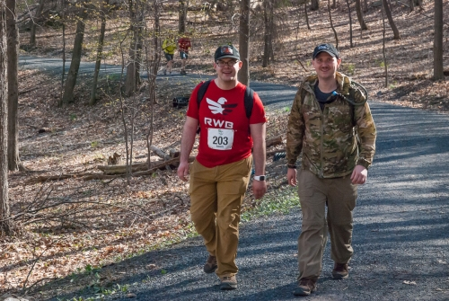 Adam and Phil decided to carry 30-lb packs.  Credit:  Mohonk Preserve Volunteer Photographers