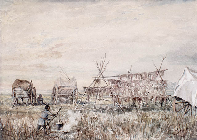 Metis drying buffalo meat, White Horse Plains (St. Francois Xavier), Red River, Canada (Painted in 1899 by William Armstrong (1822-1914))