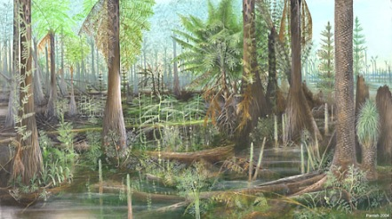 Carboniferous era forest.  Credit:  Mary Parrish, Smithsonian National Museum of Natural History