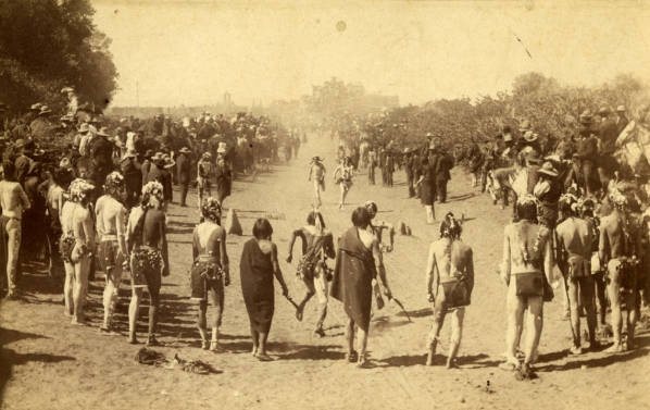 Feast day foot race, Taos Pueblo, New Mexico, ca. 1884-1892, by Dana B. Chase. Palace of the Governors Photo Archives