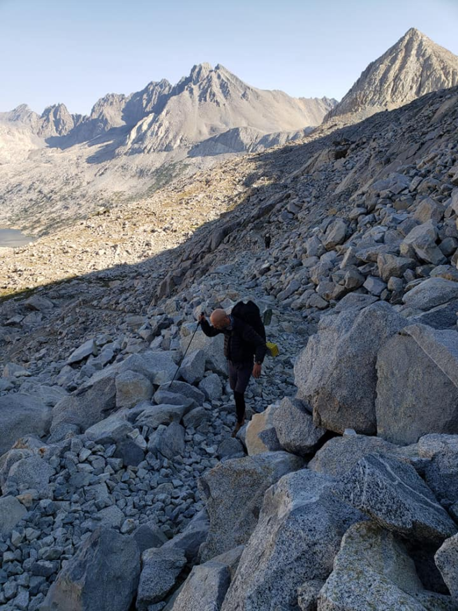 The author climbing Mather Pass, photographed by Kathryn Banks (those are rock cobbles)